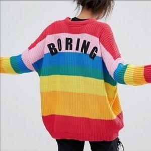 Lazy Oaf Rare Rainbow Boring  Oversized Cardigan